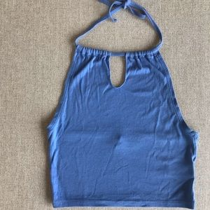 Urban outfitters blue eyelet halter top